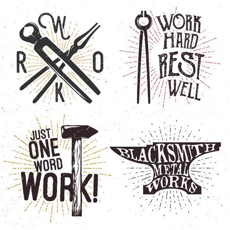 Set of motivational and inspirational badges, labels, logos. Work themed emblems. Illustration