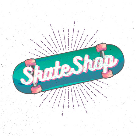 Skate Shop lettering inside high detailed cartoon skateboard with sunburst on background. Illustration
