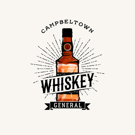 Whiskey logotype with cartoon detailed whiskey bottle