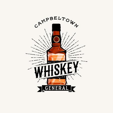 irish pub label design: Whiskey logotype with cartoon detailed whiskey bottle