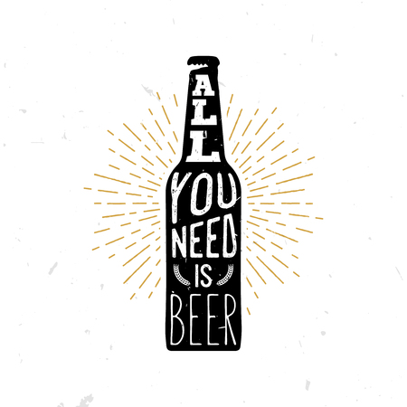 stock quote: All you need is bear - beer themed quote inside the beer bottle, typography illustration. Vintage retro styled stock illustration