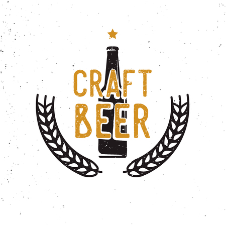 craft beer 60s or 70s logotype, vintage style. Retro styled beer themed badge, label, symbol.