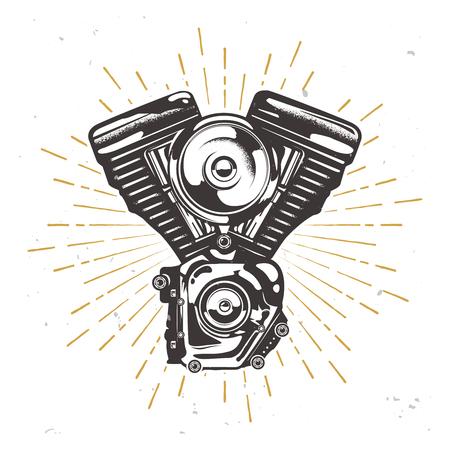 Vector custom garage logotype with chopper engine, motorbike engine illustration with sun burst Illustration