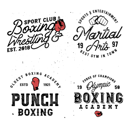 Boxing and mma themed retro logo templates in vintage style with grunge effect.