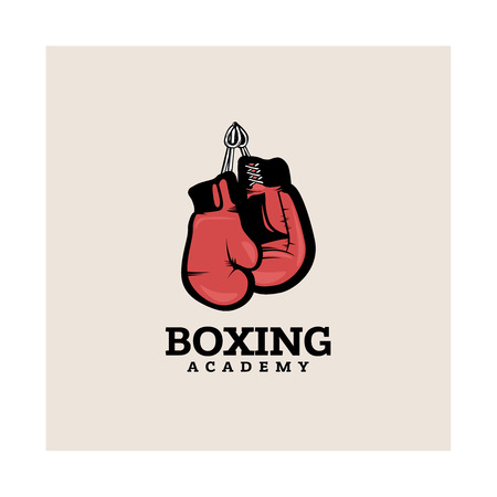 Boxing logotype template with hanging boxing gloves. Illustration