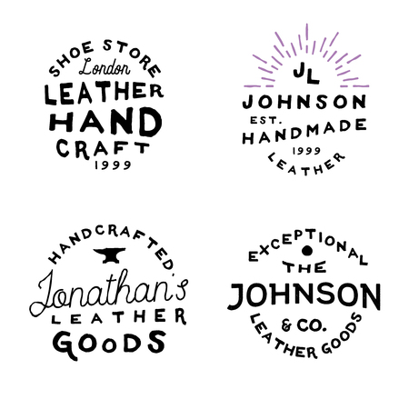 Leather goods workshop vintage logos, vector illustration. Retro inspired simple and minimal logos, rough badges