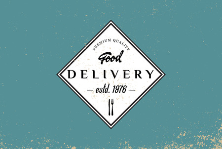 delivery truck: Food delivery logotype template, retro badge on food theme