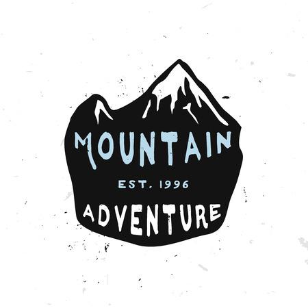 Mountain Adventure Vintage Label inside hand drawn shield with hills peaks Ilustracja