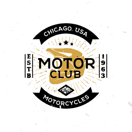 Vintage template of emblem of motor club with helmet in the middle. Retro styled badge, label, symbol, logo.