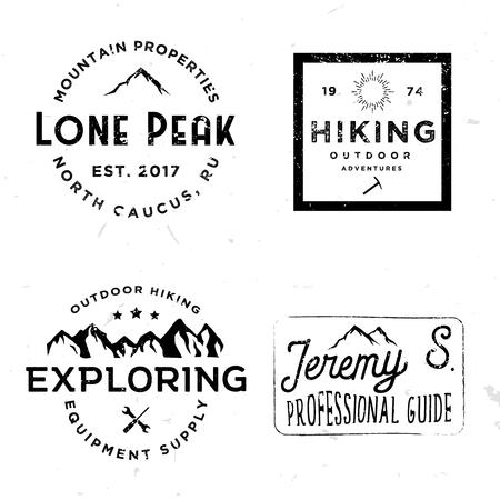 Hiking logotypes in vintage style, retro badges on wilderness theme Ilustracja