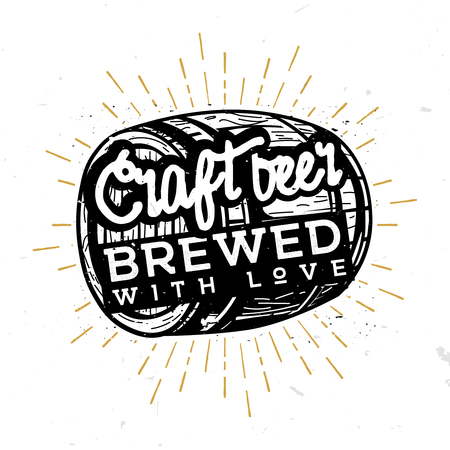 Craft beer, brewed with love - typographic illustration in vintage style, black and white illustration, retro rustic style symbol, label, badge. Illustration for alcohol cards, posters, bar  pub menu. Beer wooden barrel with phrase inside.