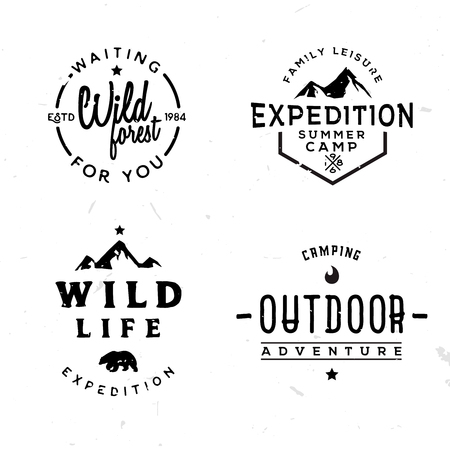Set of outdoor logotypes in vintage style, retro wild adventures themed labels, badges, symbols.