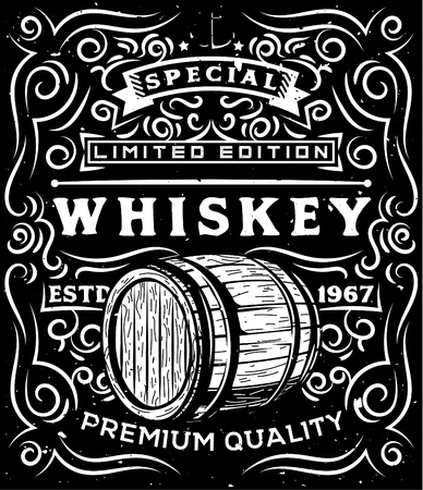 Hand drawn whiskey label with wooden barrel and floral calligraphic elements.American whiskey label, badge, sticker, print for t-shirt. Perfect for alcohol cards, bottle stickers, posters, banners.