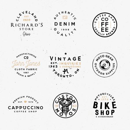 Vintage kledingetiketten, retro-stijl badges. Aangepaste manches, fietswinkel, coffeeshop en andere thema's. Stock Illustratie