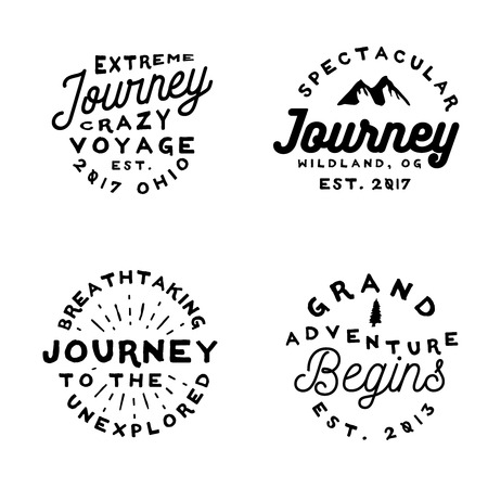 Minimal old-fashioned logos on adventure theme. Typography badges in simple vintage style, vector.