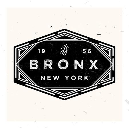 Bronx New York apparel label design, vector illustration in vintage style 1920s Ilustracja