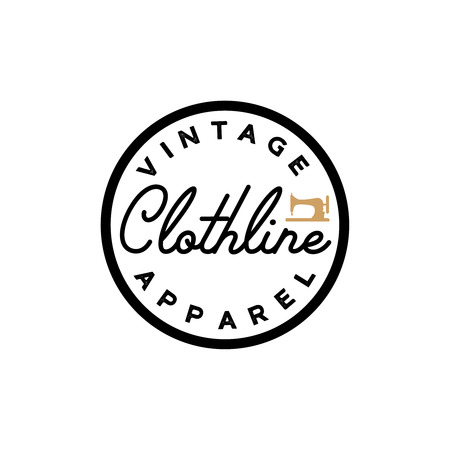 Clothline vintage simple retro logotype. Apparel label Ilustracja