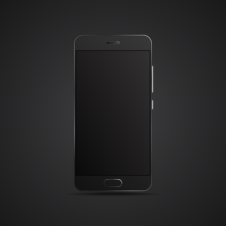 Black hyper realistic smartphone on dark background. Vector modern high detailed black smartphone. Professional realistic smartphone isolated on dark background.
