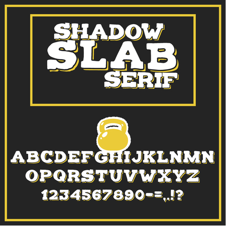 Shadow slab alphabet with letters, numerals and punctuation