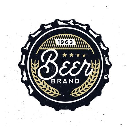 Vector vintage beer cap with grunge effect. Stock vector illustration. Retro beer cap in vintage style. Beer branding