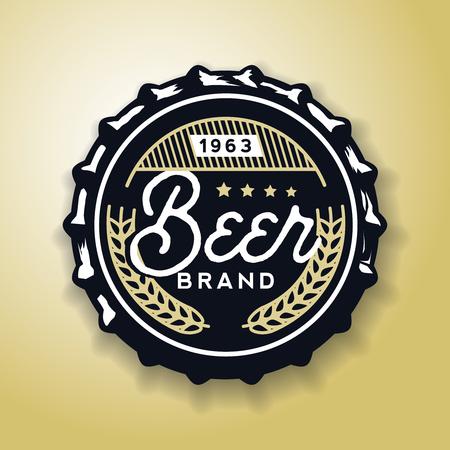 Beverage screw top designed in vintage style, vector illustration. Beer cap in retro style, stock vector Ilustracja