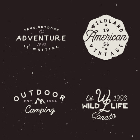 Set of outdoor adventures badges. Retro logotype on travel theme.