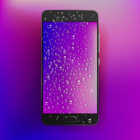 Vector smart phone with waterdrops on blank screen with colorful wallpaper. High detailed mobile phone with realistic water bubbles and drops.