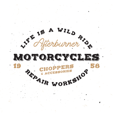 Retro motorcycle emblem in vintage style with grunge effect. Old-school monogram on bike theme.
