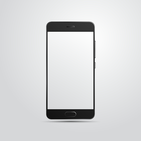Black high detailed smartphone isolated on white background. White place for your image. Realistic template of Mobile phone . Stock vector.