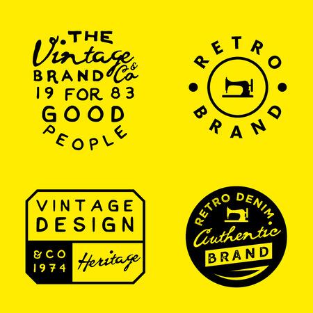 Vintage templates on yellow background. Vintage denim, clothing, apparel designs. Wear labels.