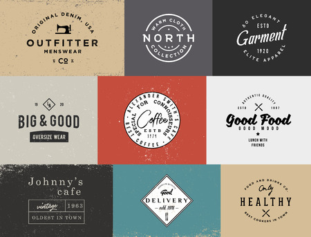 Different vintage templates with different colored backgrounds. Retro stock templates for branding projects.
