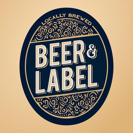 Beer label design, floral ornaments and vintage styled text. Beer label concept for bottles, banners, ads, beer branding or more.