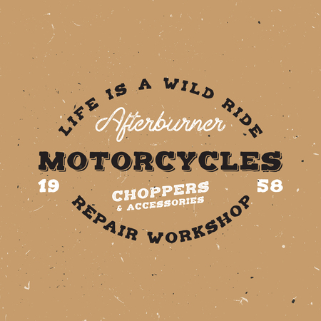 Retro motorcycle badge in vintage style. Label on moto theme. Monogram with vintage font in the middle.