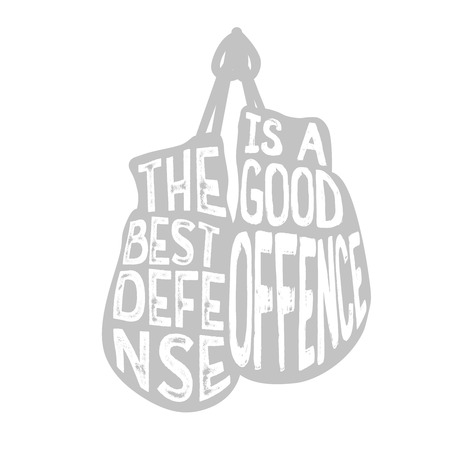 Boxing typography, The best defense is a good offence text inside the boxing gloves, vintage illustration with grunge effect. Perfect for advertising, posters, cards, sport signs and other. Ilustracja