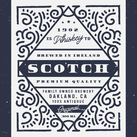 Old whiskey label, scotch label. Vintage design of alcohol label, logo design for banners, labels, sticker. Perfect for whiskey, beer, wine and other drinks. Ilustracja