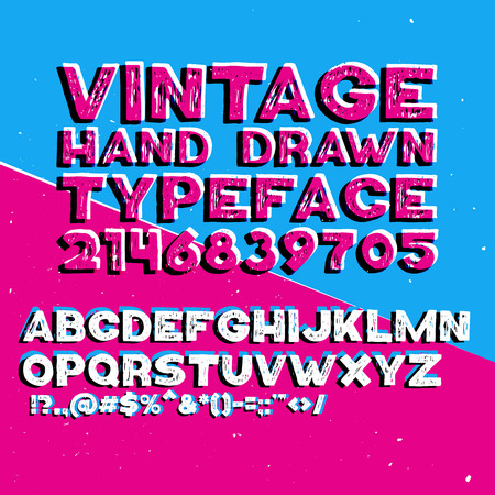 Vintage hand drawn typeface with stamp effect. Rough lines, hand drawn effect. Letters, numbers and necessary punctuation symbols.