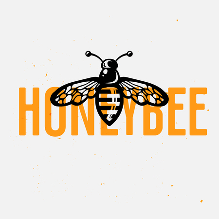 Honey bee logo concept, vintage vector illustration. Hand drawn bee in the center of logotype. Ilustracja