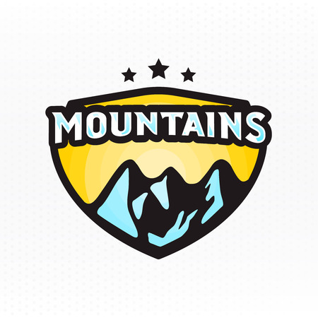 Mountains - colorful badge for clothing. Vector illustration. Ilustracja