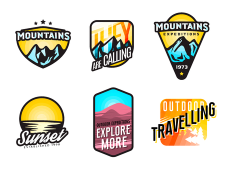 Set of mountain themed modern logos and badges. Mountain expedition labels concept.  Set of outdoor stickers. Vector illustration.