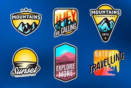 Set of mountain themed modern logos and badges. Mountain expedition labels concept.   Set of outdoor stickers. Vector illustration. Ilustracja