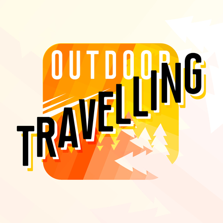 Outdoor travelling logotype with trees silhouettes, vector illustration