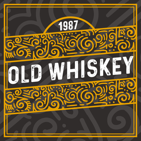 old whiskey decoration frame with vintage text and floral elements. Vector illustration.