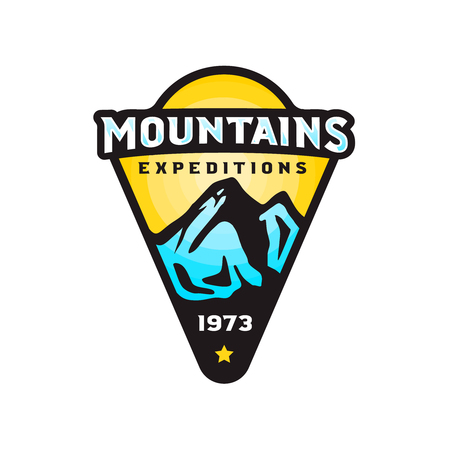 Mountains expeditions logo badge in modern colorful style. Vector stock illustration
