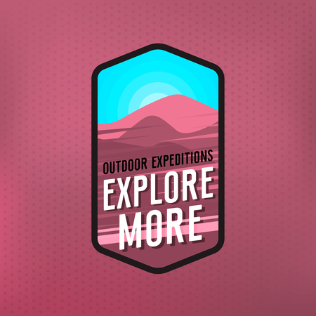 Explore more - modern outdoor badge for wear. Purple landscape and blue sky and phrase explore more. Vector outdoor themed logo Illustration
