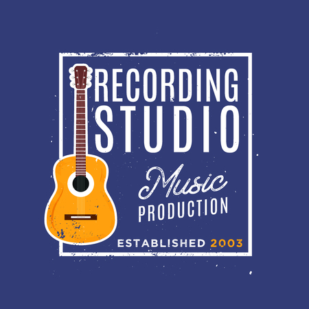 Recording studio with guitar. Vintage style of badge, perfect for recording studio