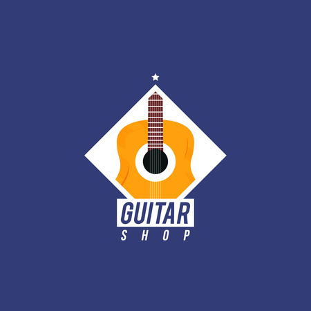 Guitar shop. concept with a part of guitar inside the rhombus. Modern music shop badge Ilustracja