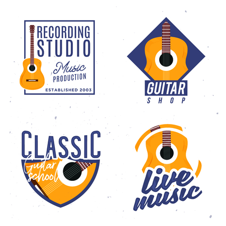 Guitar themed , badges, signs, design elements. concept with guitar as a main element