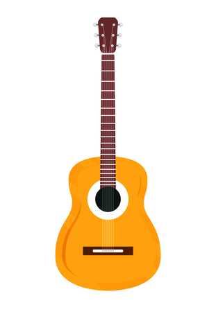 Wooden classic guitar isolated on white background. Flat style of illustration