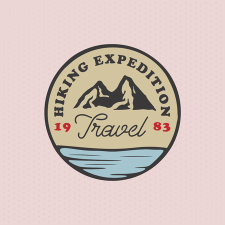 hiking vintage template with a mountain and water, retro styled badge Ilustracja