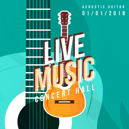 LIVE music poster template with guitar in the middle. Place for sample text, date and etc. Guitar party flyer. Ilustracja